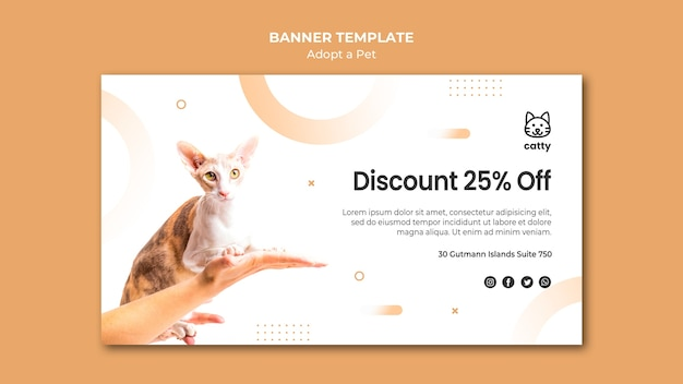 Horizontal banner template for adopting a pet Free Psd