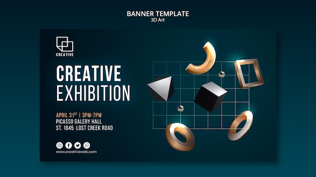 Horizontal banner template for art exhibition with creative three-dimensional shapes Free Psd