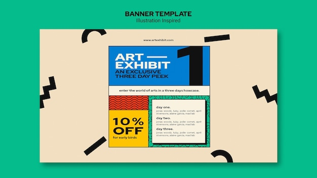 Horizontal banner template for art exhibition Free Psd