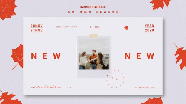 Horizontal banner template for autumn new clothing collection Free Psd