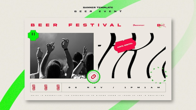 Horizontal banner template for beer festival Free Psd