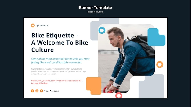 Horizontal banner template for bicycle commuting with male passenger Free Psd