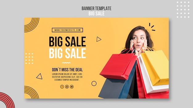 Horizontal banner template for big sale with woman and shopping bags Free Psd
