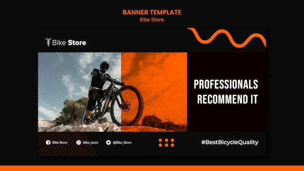 Horizontal banner template for bike store Free Psd