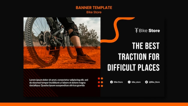 Horizontal banner template for bike store Premium Psd