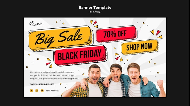 Horizontal banner template for black friday sale Free Psd