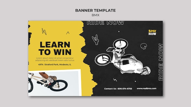 Horizontal banner template for bmx biking with man and bicycle Free Psd
