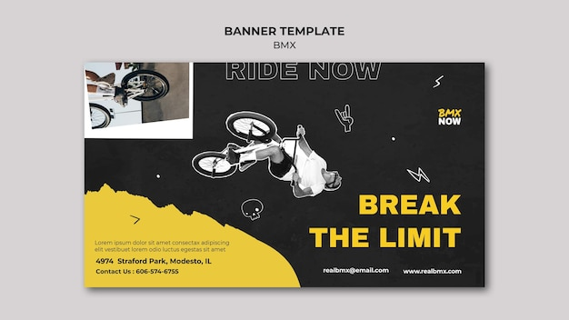 Horizontal banner template for bmx biking with man and bicycle Premium Psd