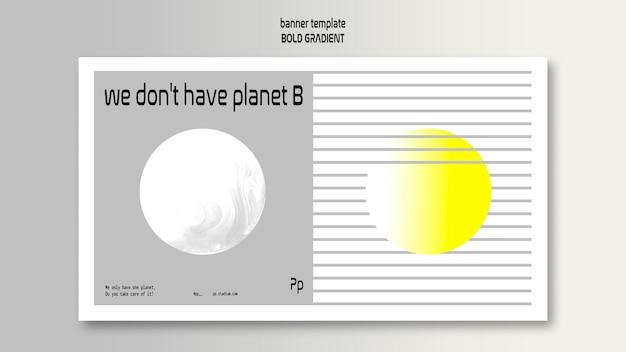 Modello di banner orizzontale in grassetto sfumato con pianeta e scienza Psd Gratuite