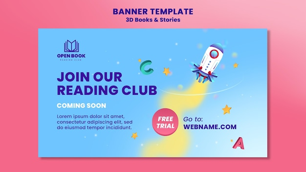 Horizontal banner template for books with stories and letters Free Psd