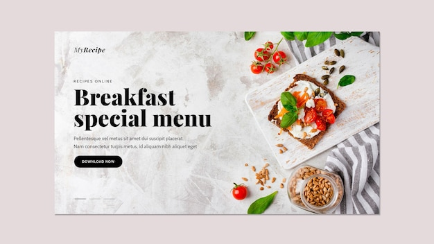 Horizontal banner template for breakfast food Free Psd