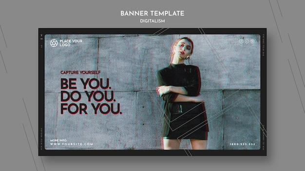 Modello di banner orizzontale per catturare te stesso tema Psd Gratuite