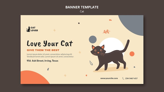 Horizontal banner template for cat adoption Free Psd
