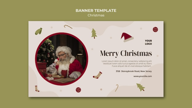 Horizontal banner template for christmas shopping sale Free Psd