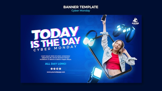Horizontal banner template for cyber monday with woman and items Free Psd