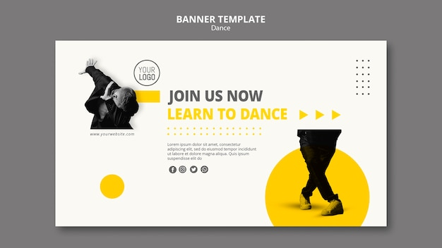 Horizontal banner template for dance lessons Free Psd