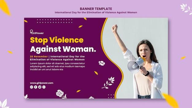 Modello di banner orizzontale per l'eliminazione della violenza contro le donne Psd Gratuite