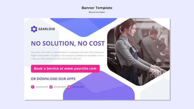 Horizontal banner template for female auto mechanic Free Psd