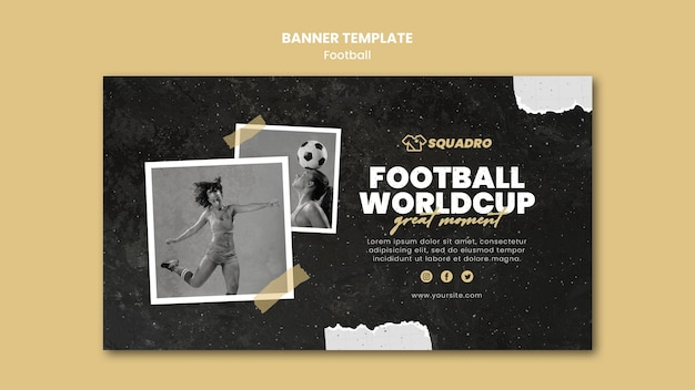Horizontal banner template for female football player Free Psd