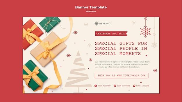크리스마스 판매를위한 가로 배너 서식 파일 무료 PSD 파일