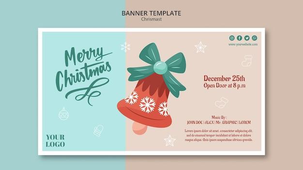 Шаблон горизонтального баннера на рождество с колокольчиком Бесплатные Psd