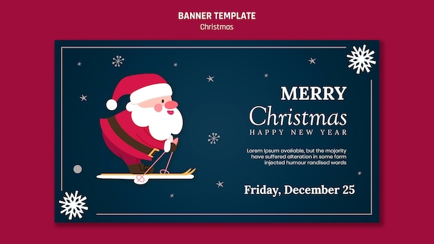 Шаблон горизонтального баннера на рождество с дедом морозом Premium Psd