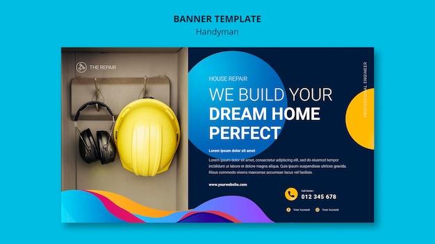 Шаблон горизонтального баннера для компании, предлагающей услуги разнорабочего Бесплатные Psd