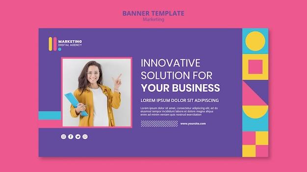 창의적인 마케팅 대행사를위한 가로 배너 템플릿 무료 PSD 파일