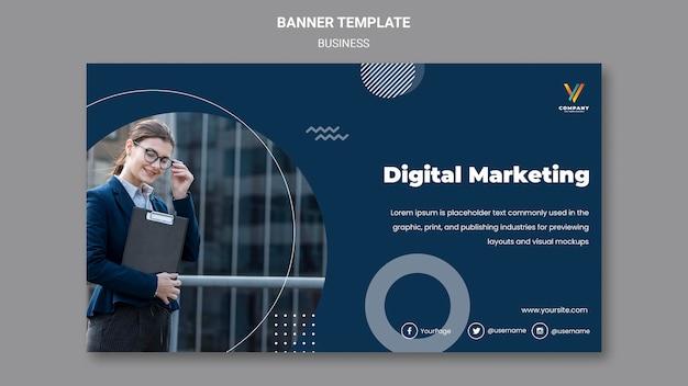 Шаблон горизонтального баннера для агентства цифрового маркетинга Бесплатные Psd