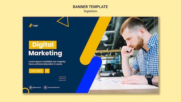 Шаблон горизонтального баннера для цифрового маркетинга Бесплатные Psd
