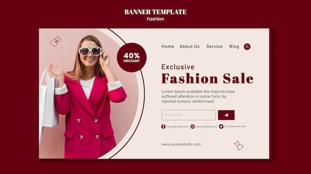 여자와 쇼핑백 패션 판매를위한 가로 배너 서식 파일 무료 PSD 파일