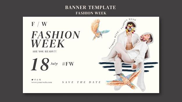 Шаблон горизонтального баннера для недели моды Бесплатные Psd