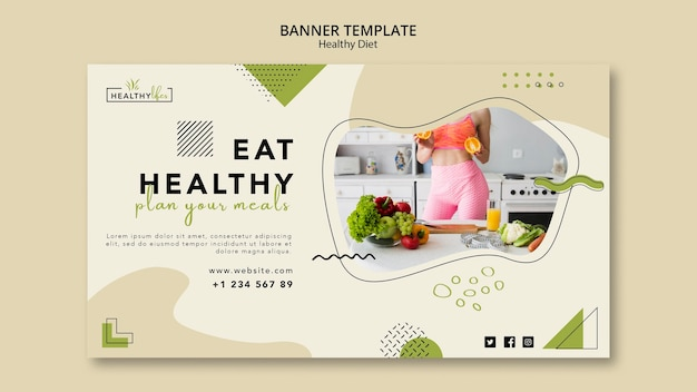 Шаблон горизонтального баннера для здорового питания Бесплатные Psd