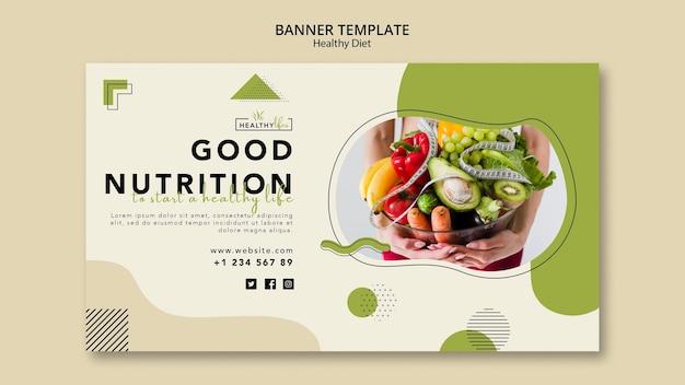 健康的な栄養のための水平バナーテンプレート Premium Psd