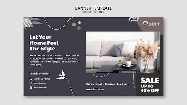 Шаблон горизонтального баннера для дизайна интерьера мебели Бесплатные Psd