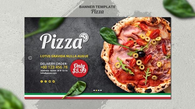 イタリアのピザレストランの水平バナーテンプレート 無料 Psd