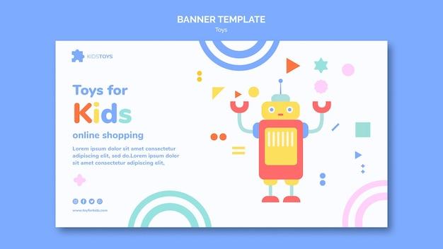 Шаблон горизонтального баннера для детских игрушек онлайн Бесплатные Psd