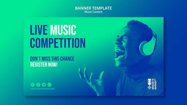 Шаблон горизонтального баннера для конкурса живой музыки с исполнителем Бесплатные Psd