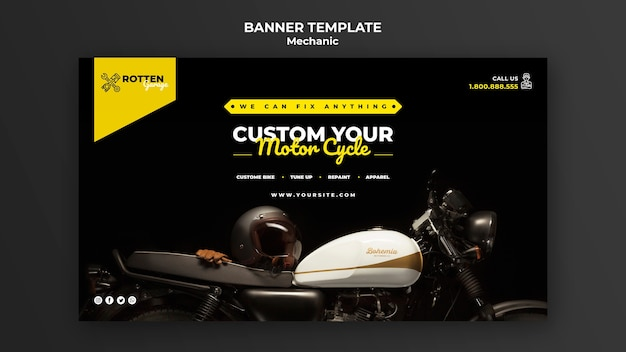 バイク修理店の水平バナーテンプレート 無料 Psd