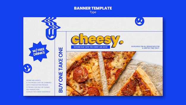 新しい安っぽいピザ味の水平バナーテンプレート 無料 Psd