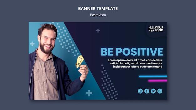 Шаблон горизонтального баннера для оптимизма и позитивизма Бесплатные Psd