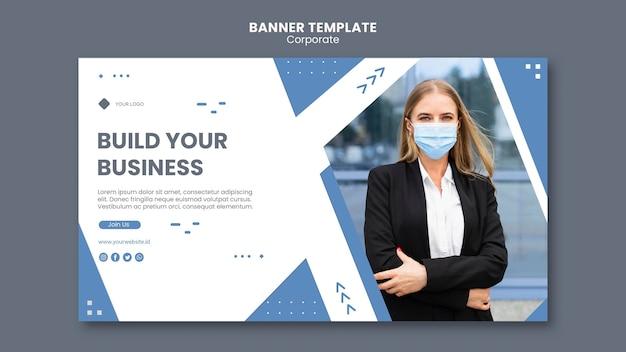 전문 비즈니스를위한 가로 배너 서식 파일 무료 PSD 파일