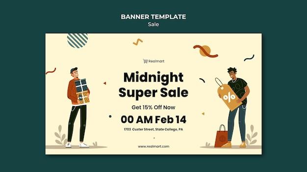 남자와 쇼핑백 판매를위한 가로 배너 서식 파일 무료 PSD 파일