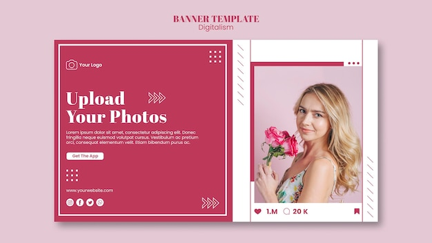 Шаблон горизонтального баннера для загрузки фотографий в социальные сети Бесплатные Psd