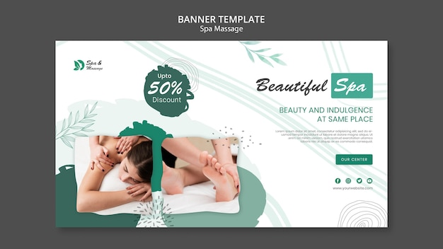 Шаблон горизонтального баннера для спа-массажа с женщиной Premium Psd