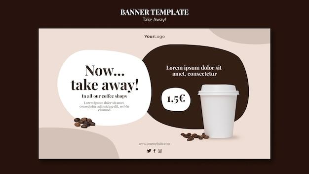 Шаблон горизонтального баннера для кофе на вынос Бесплатные Psd