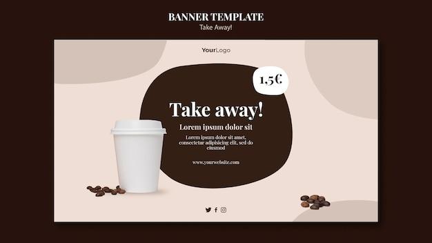 Шаблон горизонтального баннера для кофе на вынос Premium Psd