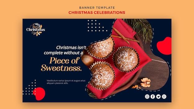 伝統的なクリスマスデザートの水平バナーテンプレート 無料 Psd