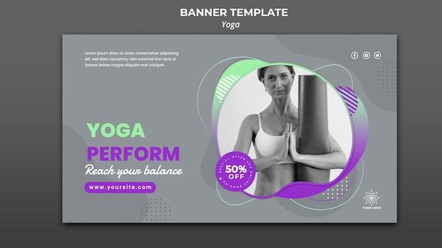 Шаблон горизонтального баннера для уроков йоги Premium Psd