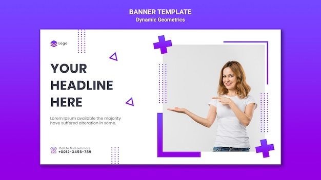 Horizontal banner template for free theme with dynamic geometrics Free Psd